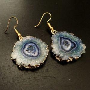 NEW Gold dipped aqua solar quartz slice earrings